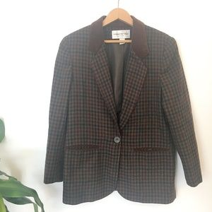 Vintage | Women's Brown Plaid One-Button Blazer
